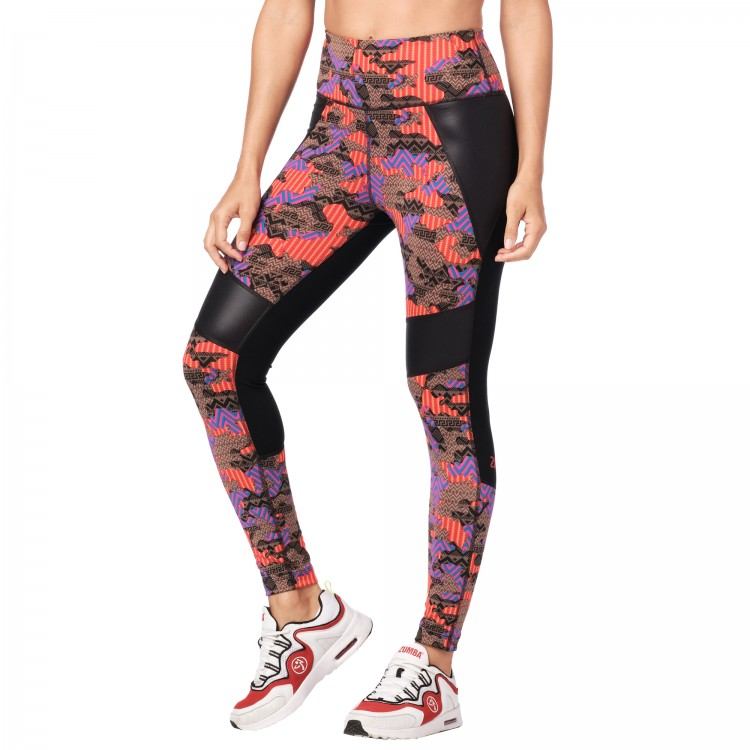 Zumba Dance Tribe High Waisted Panel Ankle Leggings