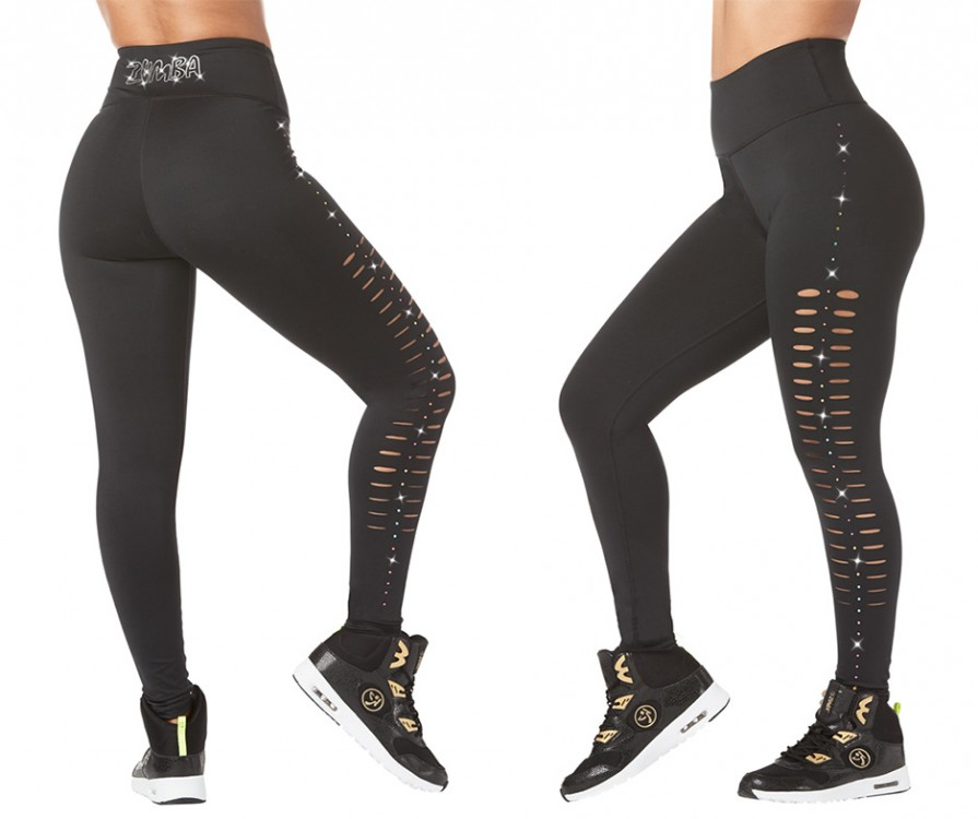 Zumba High Waisted Slashed Leggings With Swarovski Crystals