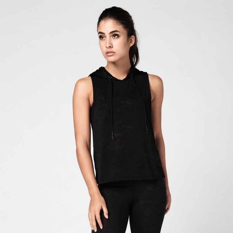 Sheer Sleeveless Crop Hoodie